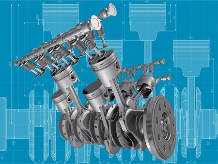 V8 engine pistons, valves and crankshaft on blueprint. 3D image.  photo