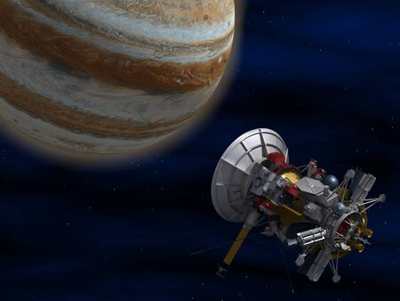 visualisation: The space satellite. 3D image.