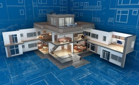 Das Projekt des Wohnhauses 3D-Bild Standard-Bild - 13183083