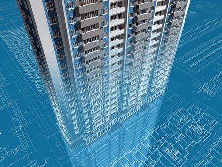 Das architektonische Projekt des Hauses 3D-Bild Standard-Bild - 13183084
