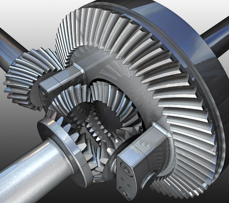 The differential gear. 3D image.  Stock Photo