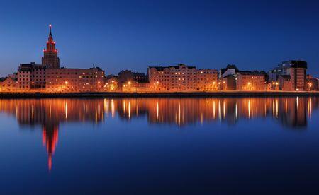 sights: Quay of Daugava river in Riga, Latvia.