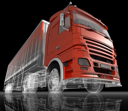 windscreen: A big trailer truck, 3d image. Stock Photo