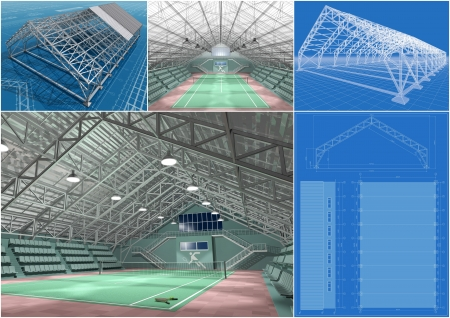 sports hall: The project of a tennis court, 3d image.