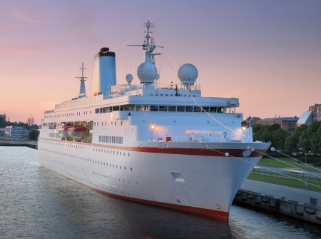 The cruise liner in seaport, Riga, Latvia. photo