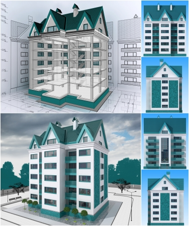 visualisation: The project of residential house. 3D image.