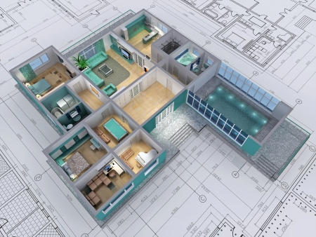 3D rendering: Cross-section of residential house. 3D image.