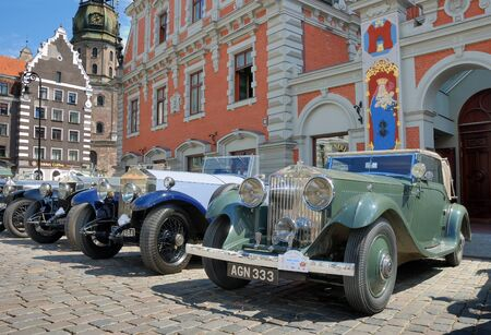 antiquarian: Riga, Latvia - July 10, 2012 - Parade of antiquarian made till 1940 cars Rolls Royce arrange by the British �The 20-Ghost Club�. Editorial