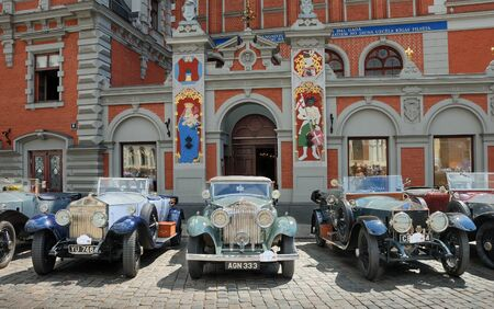 Riga, Latvia - July 10, 2012 - Parade of antiquarian made till 1940 cars Rolls Royce arrange by the British �The 20-Ghost Club�.