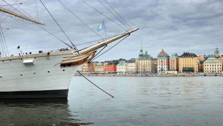 chapman: Skeppsbrokajen quay and sailing vessel Af Chapman in Stockholm, Sweden  Stock Photo
