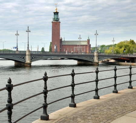 norrmalm: Town hall and Vasabron bridge connecting Norrmalm to Gamla stan over Norrstr�m in Stockholm, Sweden