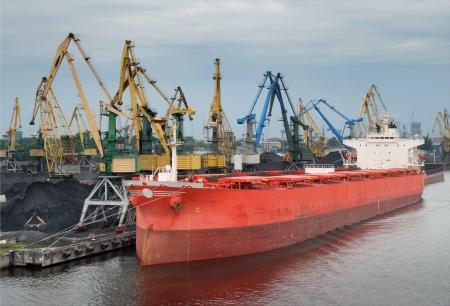 waterline: Vessel under loading in Riga port, Latvia