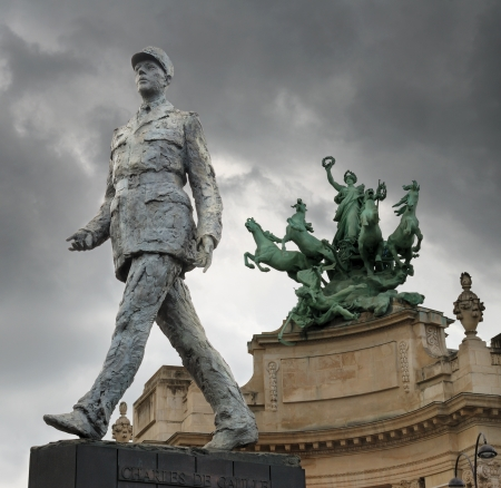 statesman: Monument to French general and statesman Charles de Gaulle on the Avenue des Champs-Elysees, in Paris, France.