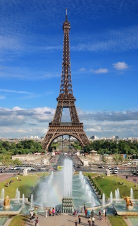 The Eiffel Tower and Trocadero fountain in Paris, France.\
