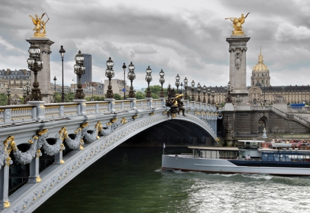 iii: The bridge Alexander III across river Seine in Paris, France.