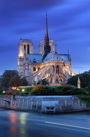 The Cathedral Notre Dame de Paris on island Cite in Paris, France.