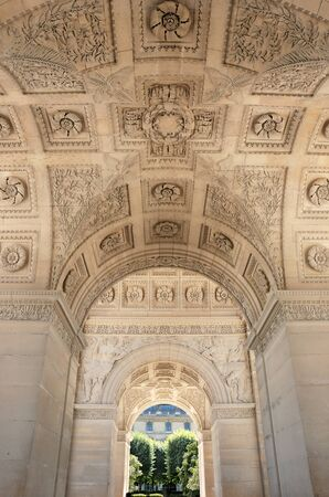 bas: Ceiling of Arc de Triomphe du Carroussel Near the Louvre Museum in Paris, France