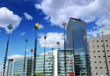 la defense: The office buildings and streetlamps in La Defense in Paris, France