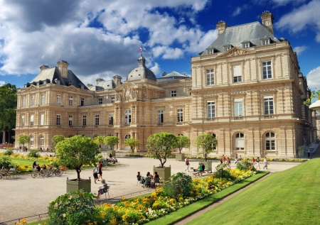 luxembourg: The Luxembourg Palace (Palais du Luxembourg) in Luxembourg Garden (Jardin du Luxembourg) in Paris, France Editorial