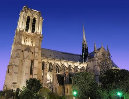 statuary garden: The famous cathedral Notre Dame de Paris in Paris, France