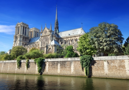 statuary garden: The cathedral Notre Dame de Paris on island Cite in Paris, France. Editorial