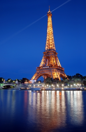 The Eiffel Tower and river Seine in Paris, France.