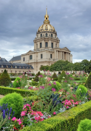 Garden and Chapel of Saint-Louis-des-Invalides in Paris, France  Stock Photo - 16188424