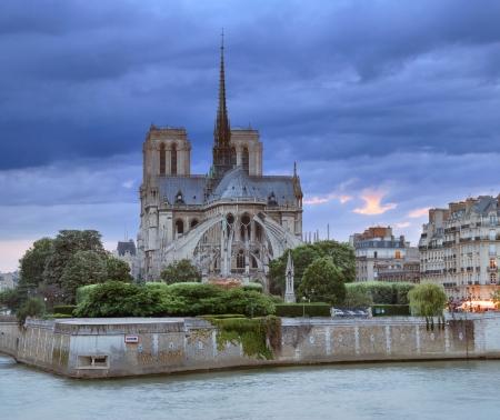 notre dame de paris: The cathedral Notre Dame de Paris on island Cite in Paris, France  Stock Photo