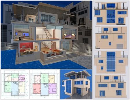 villa: Presentation of residential cottage. 3D visualisation.