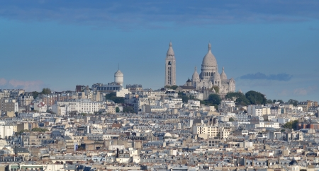 The basilica Sacre Coeur on hill Montmartre in Paris, France. photo