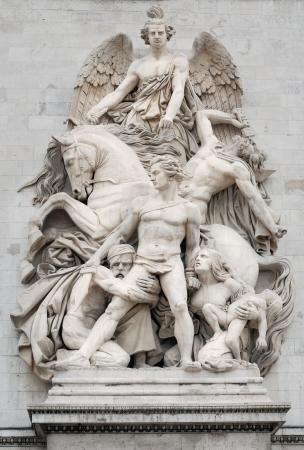 statuary: Sculpture La Resistance (Resistance) on facade of the Arc de Triomphe (Triumphal Arch), one of the most famous monuments in Paris, France.