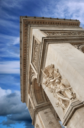 depart: Sculpture La Marseillaise (or Le Depart) on facade of the Arc de Triomphe (Triumphal Arch), one of the most famous monuments in Paris, France. Editorial