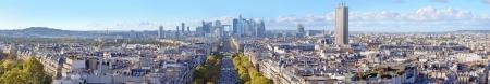 The Avenue de la Grande Armee direction to business district La Defense in Paris, France. Stock Photo