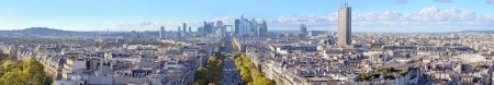The Avenue de la Grande Armee direction to business district La Defense in Paris, France. Stock Photo
