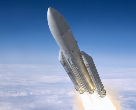launch vehicle: Launch of the carrier rocket. 3d image.  Stock Photo