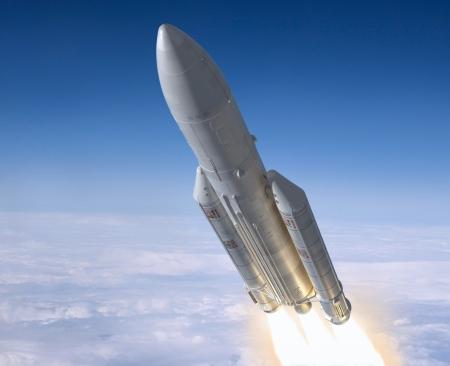 Start der Trägerrakete. 3D-Bild. Standard-Bild - 16758666