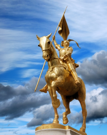 Statue of Joan of Arc (Jeanne d'Arc) on Place Pyramides in Paris, France.