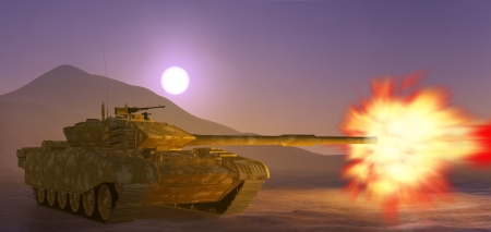 gunnery: Army tank. 3d image.  Stock Photo