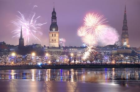 Celebratory New Years salute on December, 31, 2012. Riga, Latvia. Stock Photo