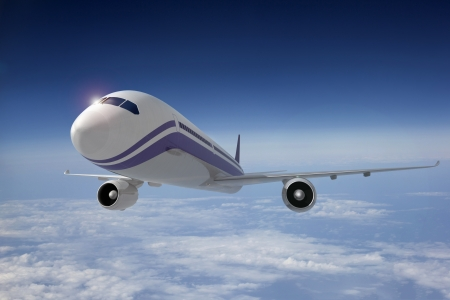 Commercial airplane in flight. 3D image.