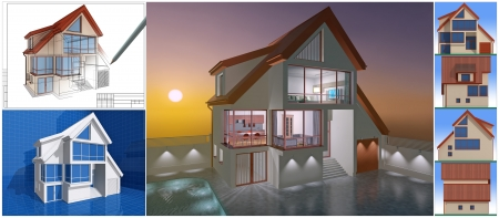Presentation of residential cottage. 3D image. photo