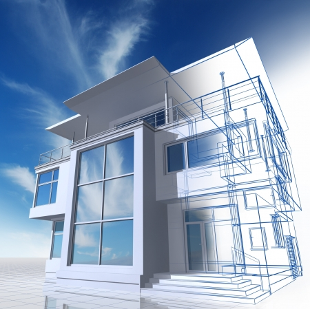 housing project: Presentation of residential cottage. 3D image.