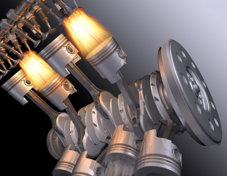 combustion: The working motor V8. 3D image. Stock Photo