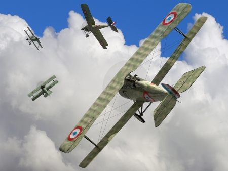 visualisation: The fighter biplane of time period the World War I   3D visualisation