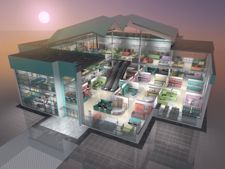 3D rendering: Furniture shop inside  3D visualisation