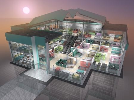 lavavajillas: Tienda de muebles dentro de visualizaci�n 3D Foto de archivo