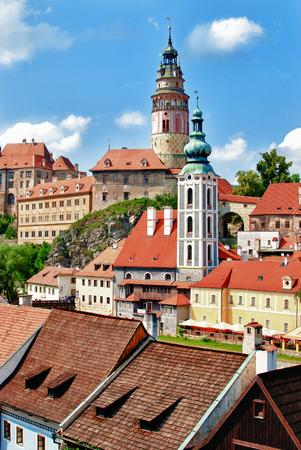 unesco in czech republic: Historical city center of Czech Krumlov in Czech republic Stock Photo