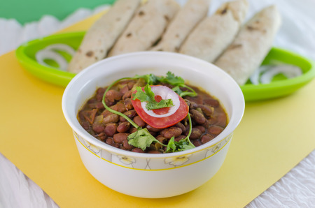 kidney beans: Rajma is a popular Indian vegetarian food consisting of red kidney beans in thick gravy. Kidney beans are cooked in differenr spices. It is eaten with rice or wheat breads(roti).