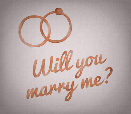 will you marry me: Will you marry me sign on grey background Stock Photo
