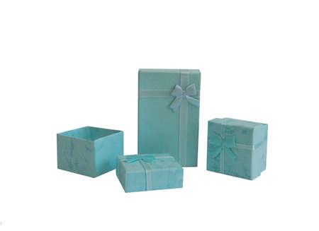 box size: blue gift box isolated on white background